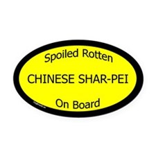 Spoiled Chinese Shar-Pei On Board Oval Car Magnet