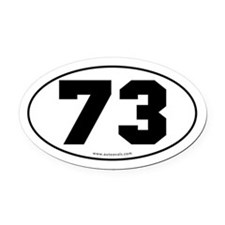 #73 Euro Bumper Oval Car Magnet -White
