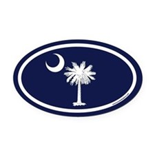 South Carolina Flag Oval Car Magnet with Palm Tree