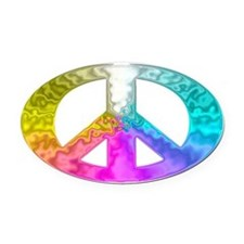 Peace Rainbow Splash Oval Car Magnet