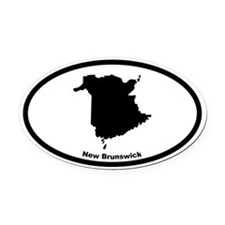 New Brunswick Canada Outline Oval Car Magnet