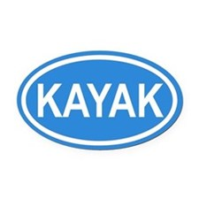 KAYAK Paddling Blue Euro Oval Car Magnet