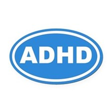 ADHD Blue Euro Oval Car Magnet