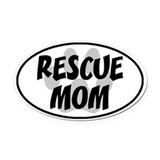 Rescue Mom White Oval Car Magnet (Oval)