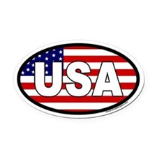 USA Flag Oval Car Magnet with USA letters in white
