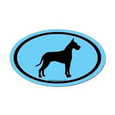 great dane oval (black on blue) Oval Car Magnet
