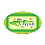 Go Vegan Oval Car Magnet