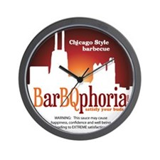 barBQphoriaROUND2.png Wall Clock
