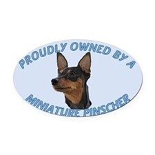 Proudly Owned Min Pin Oval Car Magnet