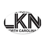 Lake Norman Oval Car Magnet (Black on White)