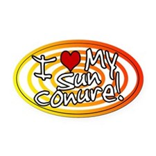 Hypno I Love My Sun Conure Oval Car Magnet Sunfire