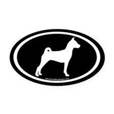 Basenji Dog Oval (white/blk) Oval Car Magnet
