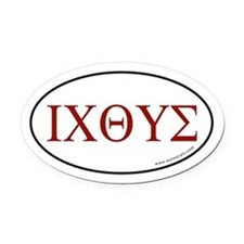 Greek Fish Oval Car Magnet -Red Letter (Oval)