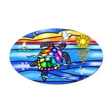 Sea Turtle (#8) Oval Car Magnet