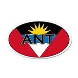 Antigua Flag with text Oval Car Magnet