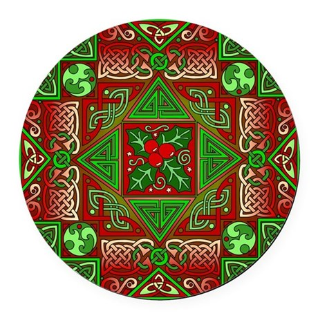 Celtic Labyrinth Holly Round Car Magnet