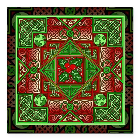 "Celtic Labyrinth Holly Square Car Magnet 3"" x 3"""