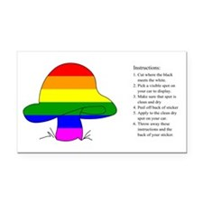 Rainbow Mushroom Rectangle Car Magnet