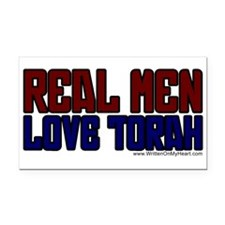 """Real Men Love Torah"" Rectangle Car Magnet"