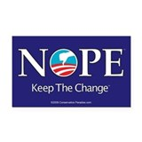 NOPE Keep the Change anti Obama bumper Rectangle C