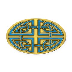 Celtic Blue Knotwork Oval Car Magnet