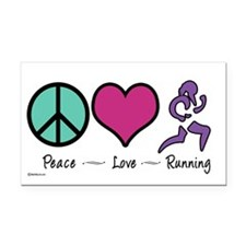 Peace- Love- Running Rectangle Car Magnet