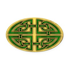 Celtic Green Knotwork Oval Car Magnet