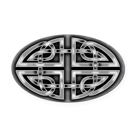 Celtic Gray Black Knotwork Oval Car Magnet