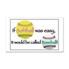 If Softball Was Easy Rectangle Car Magnet