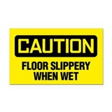 Caution: Floor Slippery When Wet Rectangle Car Mag