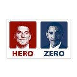 Obama Hero or Zero Rectangle Car Magnet