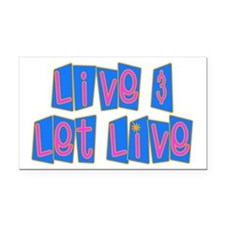 Retro Live and Let Live Rectangle Car Magnet