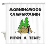 Morningwood Campgrounds Black.png Shower Curtain