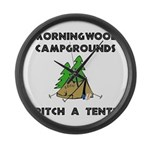 Morningwood Campgrounds Black.png Large Wall Clock