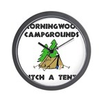 Morningwood Campgrounds Black.png Wall Clock