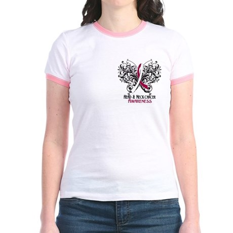 Butterfly Head Neck Cancer Jr. Ringer T-Shirt