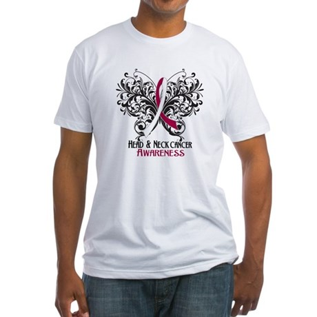 Butterfly Head Neck Cancer Fitted T-Shirt