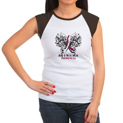 Butterfly Head Neck Cancer Women's Cap Sleeve T-Sh