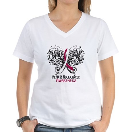 Butterfly Head Neck Cancer Women's V-Neck T-Shirt