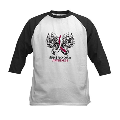 Butterfly Head Neck Cancer Kids Baseball Jersey