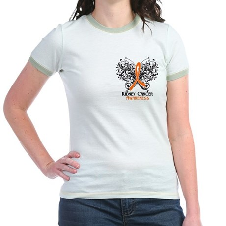 Butterfly Kidney Cancer Jr. Ringer T-Shirt