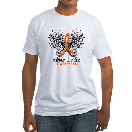 Butterfly Kidney Cancer Fitted T-Shirt