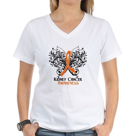 Butterfly Kidney Cancer Women's V-Neck T-Shirt