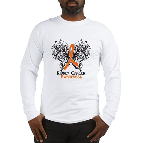 Butterfly Kidney Cancer Long Sleeve T-Shirt