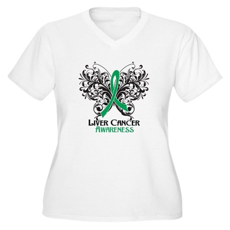 Butterfly Liver Cancer Women's Plus Size V-Neck T-