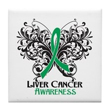 Butterfly Liver Cancer Tile Coaster