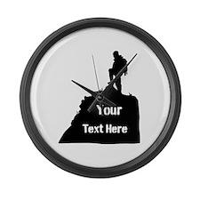 Hiking Climbing. Your Text. Large Wall Clock
