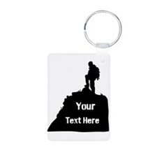 Hiking Climbing. Your Text. Keychains