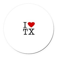 I Love Texas (TX) Round Car Magnet