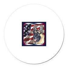 German Shepherd Dog Patriotic USA Flag Round Car M